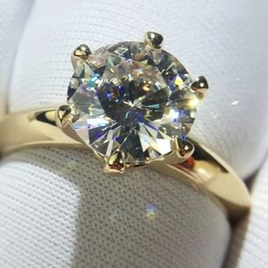 NEW 18k Yellow Gold S925 Wedding Engagement Ring …